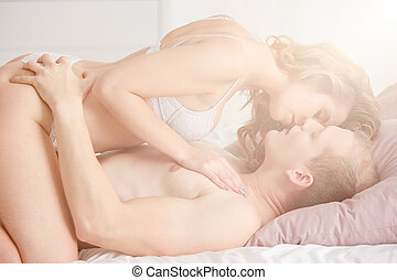 Loving couple having pleasure - Sensual loving couple having...