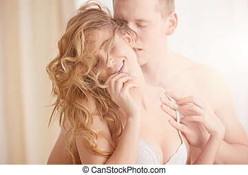 Man foreplay with woman - Sensual young man foreplay gently...