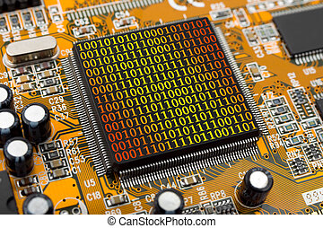 Computer chip and bytes - Computer chip and binary digits,...