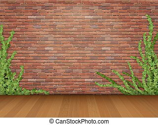 ivy red brick wall parquet floor - Ivy branches on old red...