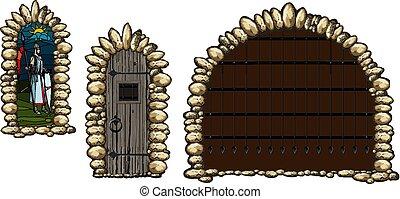 Medieval windows and doors