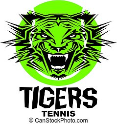 tigers tennis team design with mascot head inside ball for...