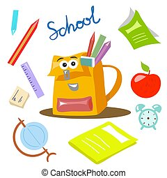 School items vector illustration cartoon style