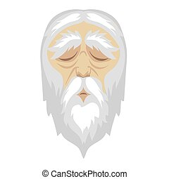 A wise, old cartoon man with and a long white beard. - A...