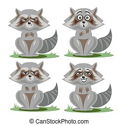 Raccoon collection with different emotions