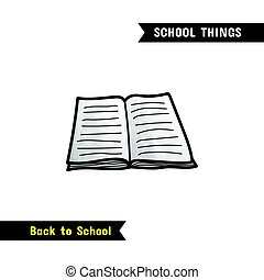 Back to School Supplies, vector hand drawn icon, isolated on...