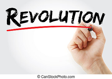 Hand writing Revolution with marker, concept background