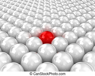 Balls - Illustration of white balls, with one red inside