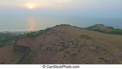 Ruins of fort Chapora. Goa state, India. Aerial - Ruins of...