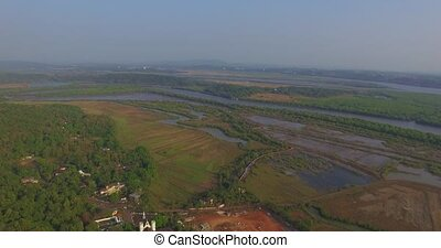 landscape of Goa in the state, far from the sea. Aerial