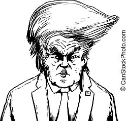 Outlined Donald Trump in Bouffant Hairdo - April 18, 2017....