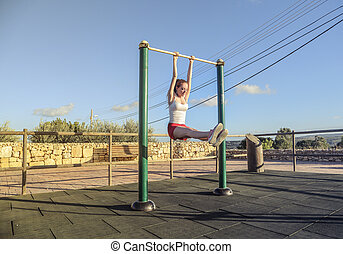 Woman working out outside