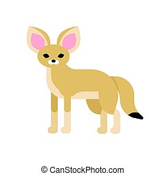 Vector flat style illustration of desert Fennec fox. Icon...