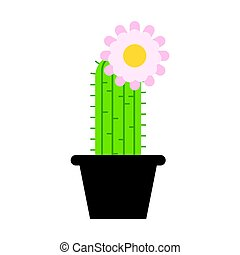 Vector flat style cactus in pot with flower on the top. Icon...