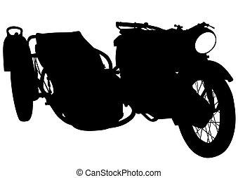 Vintage motor bike five - Old big bike on white background