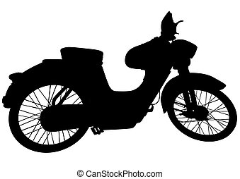 Vintage motor bike nine - Old big bike on white background