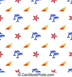 Vector seamless pattern with dolphins, sea shells and starfish.