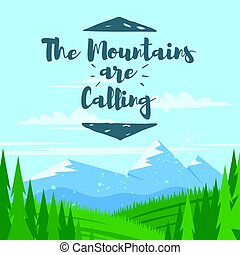 Vector cartoon style background with mountains and forest...