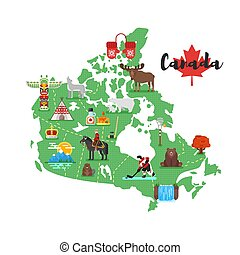 Vector flat style illustration of Canadian map with Canadian national cultural symbols.