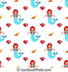 Vector flat style seamless pattern with mermaid and diamond