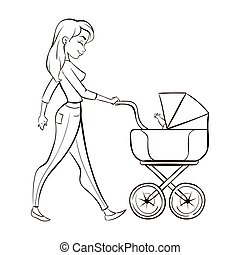 Vector hand drawn monochrome illustration of happy mother with a baby