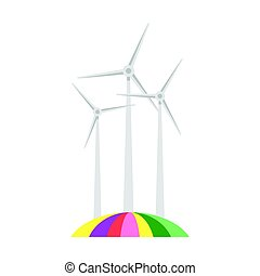 Vector flat style illustration of wind mill on colorful field.