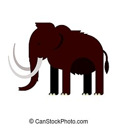 Vector flat style illustration of prehistoric animal -...