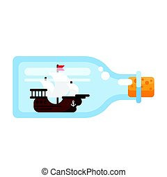 Vector flat style illustration of ship in a glass bottle.