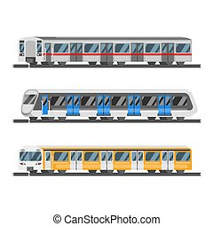 Vector flat style set of metro trains