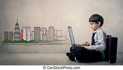 Mini businessman - Boy dressed as businessman