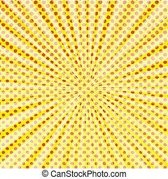 Pop art style halftone explosion with light rays.