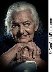 gray-haired senior woman - Portrait of a beautiful smiling...