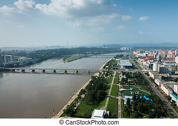 View of the city Pyongyang - View from above to the city of...
