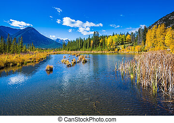 Lake Vermilion among the autumn forests - Sunny day in the...