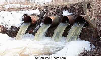 Water flows from large pipes 1