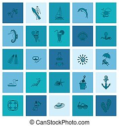 Summer and Beach Simple Flat Icons, Travel and Vacation....