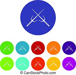 Samurai swords icons set flat vector - Samurai swords icons...
