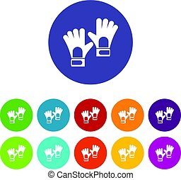 Gloves of goalkeeper icons set flat vector - Gloves of...