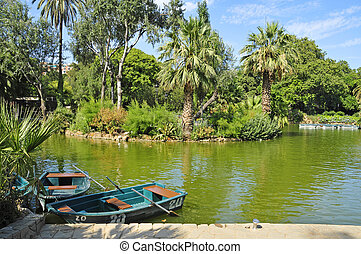 Lake of Parc de la Ciutadella, in Barcelona, Spain - A view...