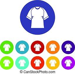 Raglan tshirt icons set flat vector - Raglan tshirt icons...