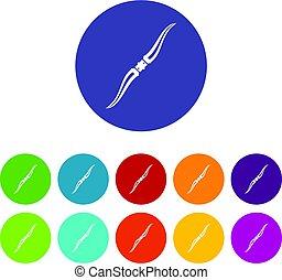 Throwing ninja knife icons set flat vector - Throwing ninja...
