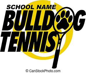 bulldog tennis team design with paw print inside racquet for...