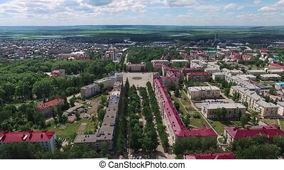 Oktyabrsky city, aerial view. Bashkortostan, Russia. Green...