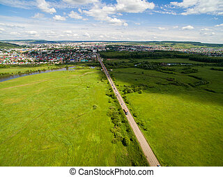 Cow, road, green near of border of Tatar and Bashkir state....
