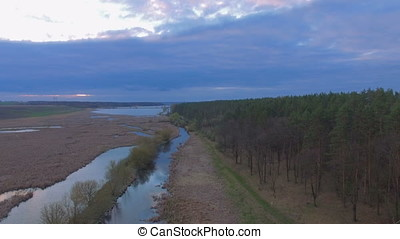 Aerial shot of the River gap at sunset