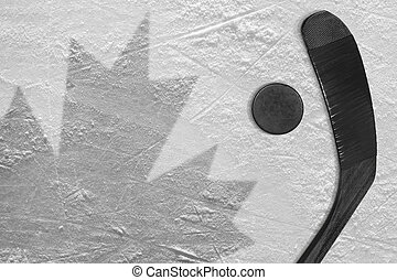 The image of the Canadian flag and hockey puck with the stick