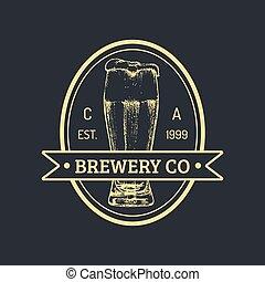 Kraft beer bottle logo. Lager retro sign. Hand sketched ale...