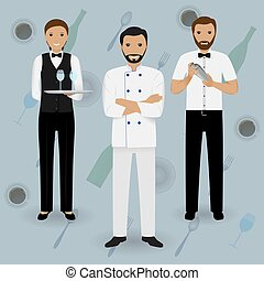 Chef cook, waitress in uniform and barman standing together on a tableware background.