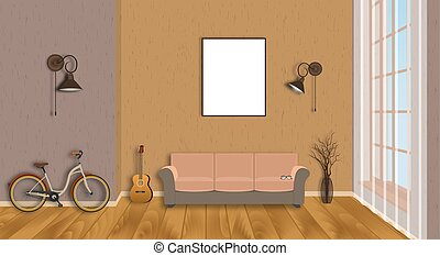 Mockup living room interior with empty frame, bicycle, guitar, wood flooring and window. Loft design concept.