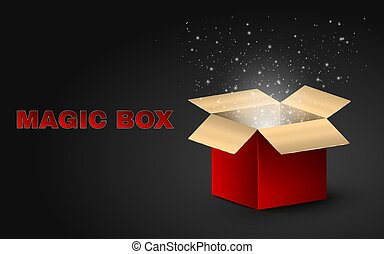 The golden magic box is red with beautiful text. Realistic illustration on a dark background. Beautiful glow from an open box. Flying fireflies